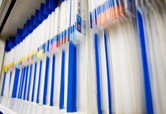 分類整理された書類フォルダー