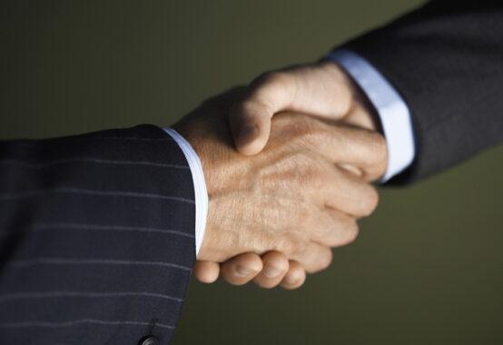 固く握手する男性の手